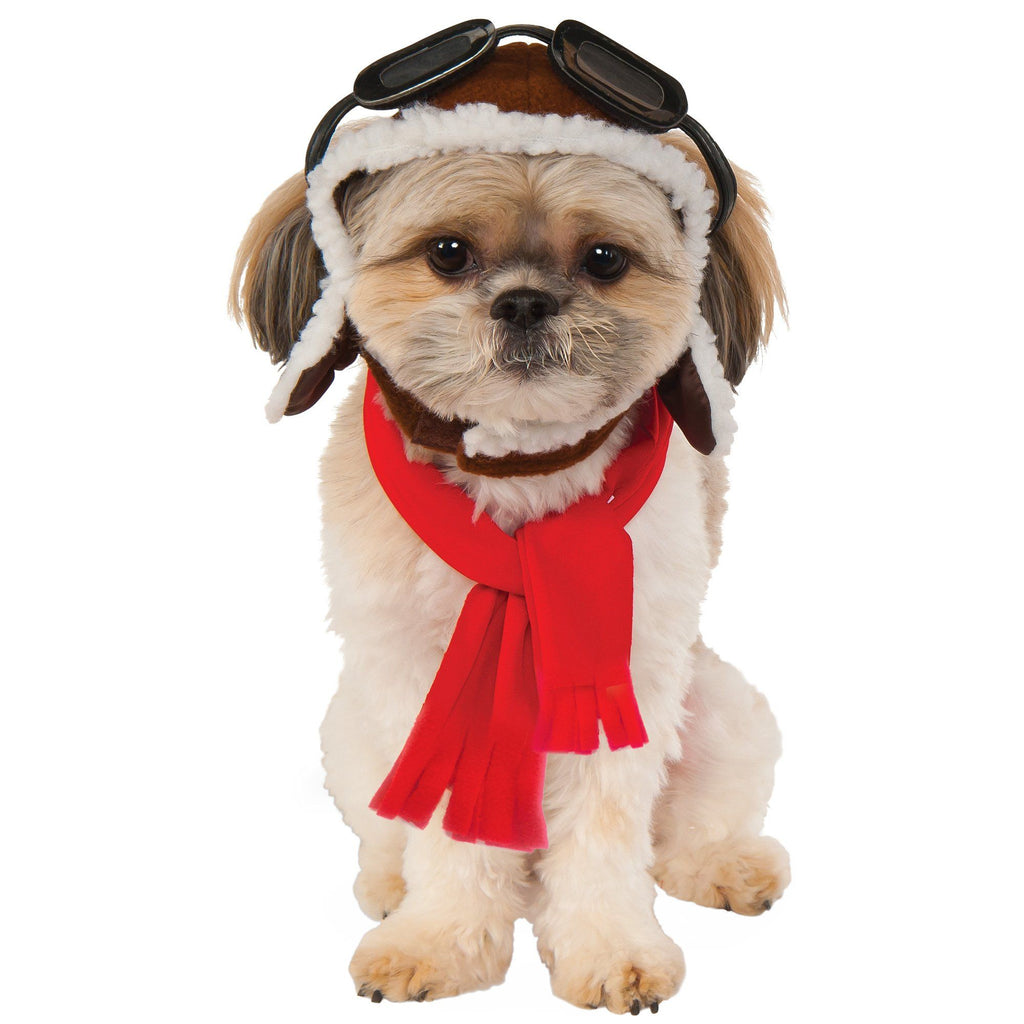 Aviator Hat & Scarf Pet Costume Set