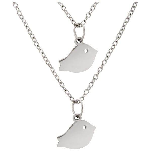 Baby Bird Friends Pewter Necklaces - Set Of 2