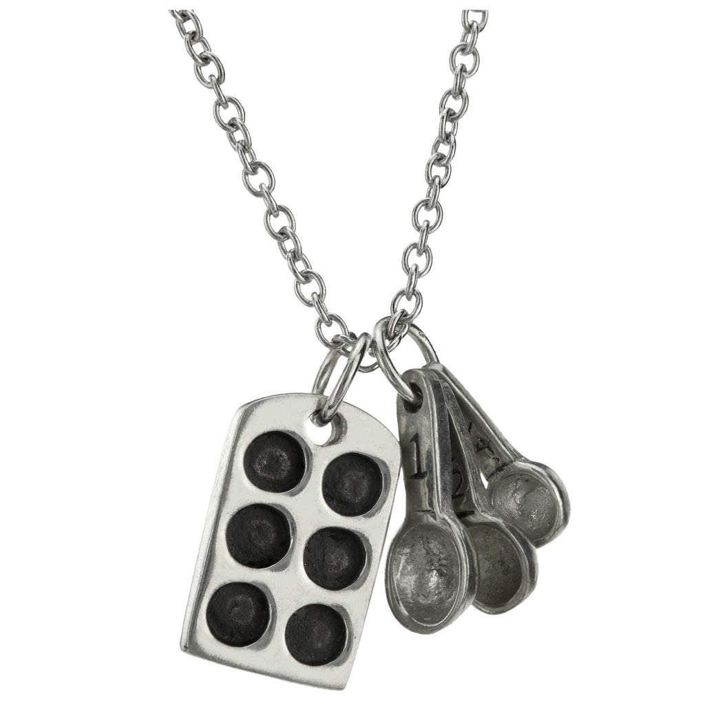 Baking Pan & Spoons Pewter Necklace