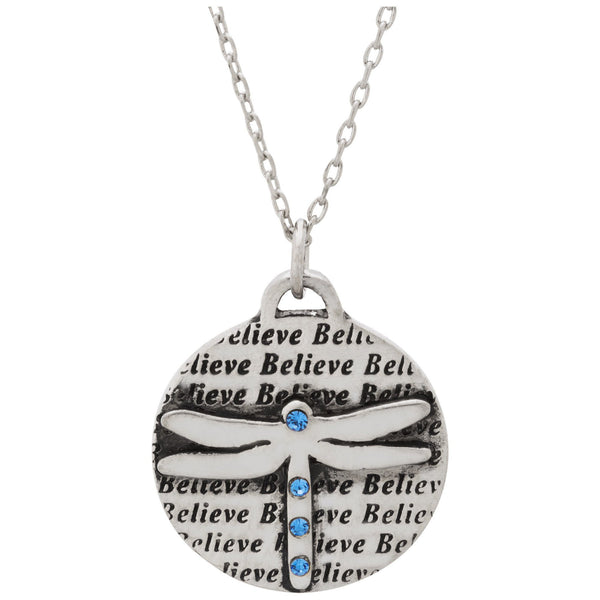 Believe In Dragonflies Pewter Necklace