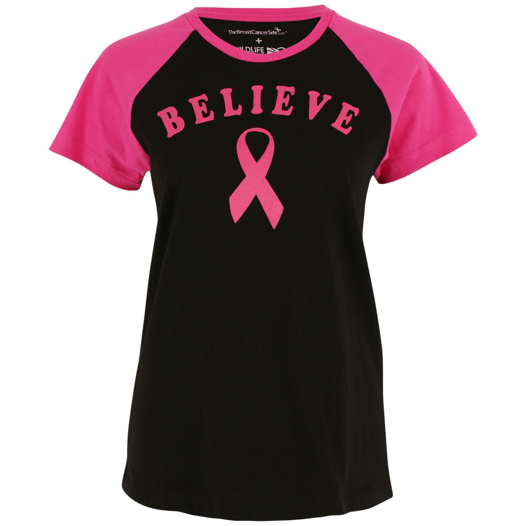 Believe Pink Ribbon Baseball Tee