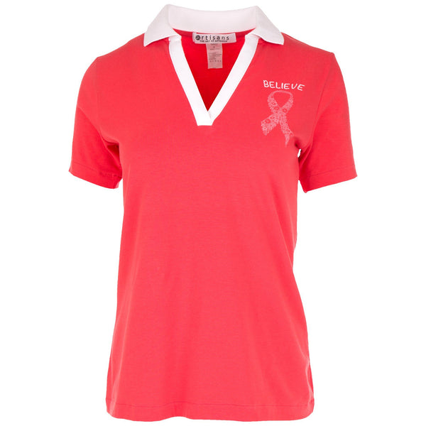Believe Pink Ribbon Polo