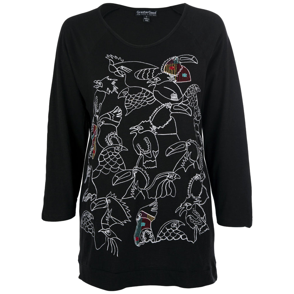 Birds Of Paradise Embroidered Top