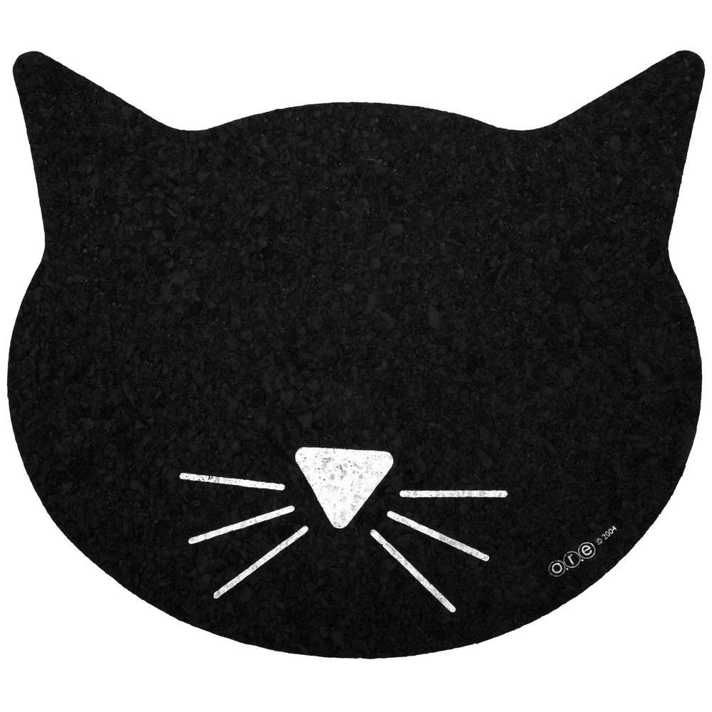 Black Cat Face Recycled Rubber Placemat