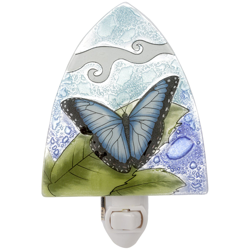 Blue Butterfly Recycled Glass Night Light
