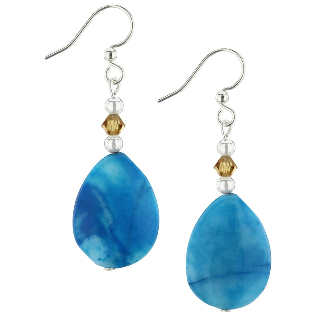 Blue Crazy Lace Agate Oval Earrings