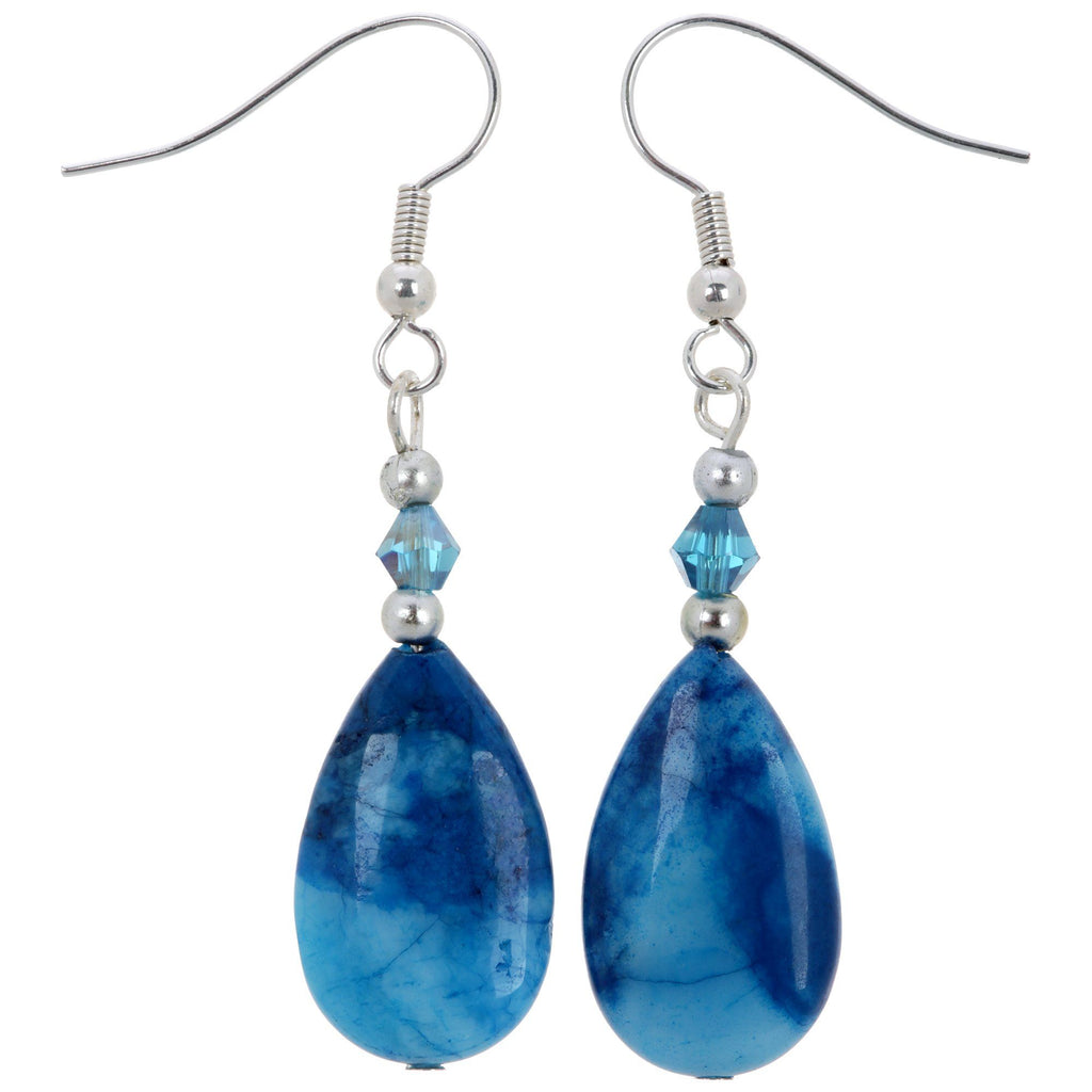 Blue Crazy Lace Teardrop Earrings