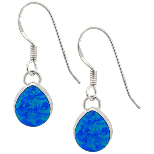Blue Opal & Sterling Teardrop Earrings