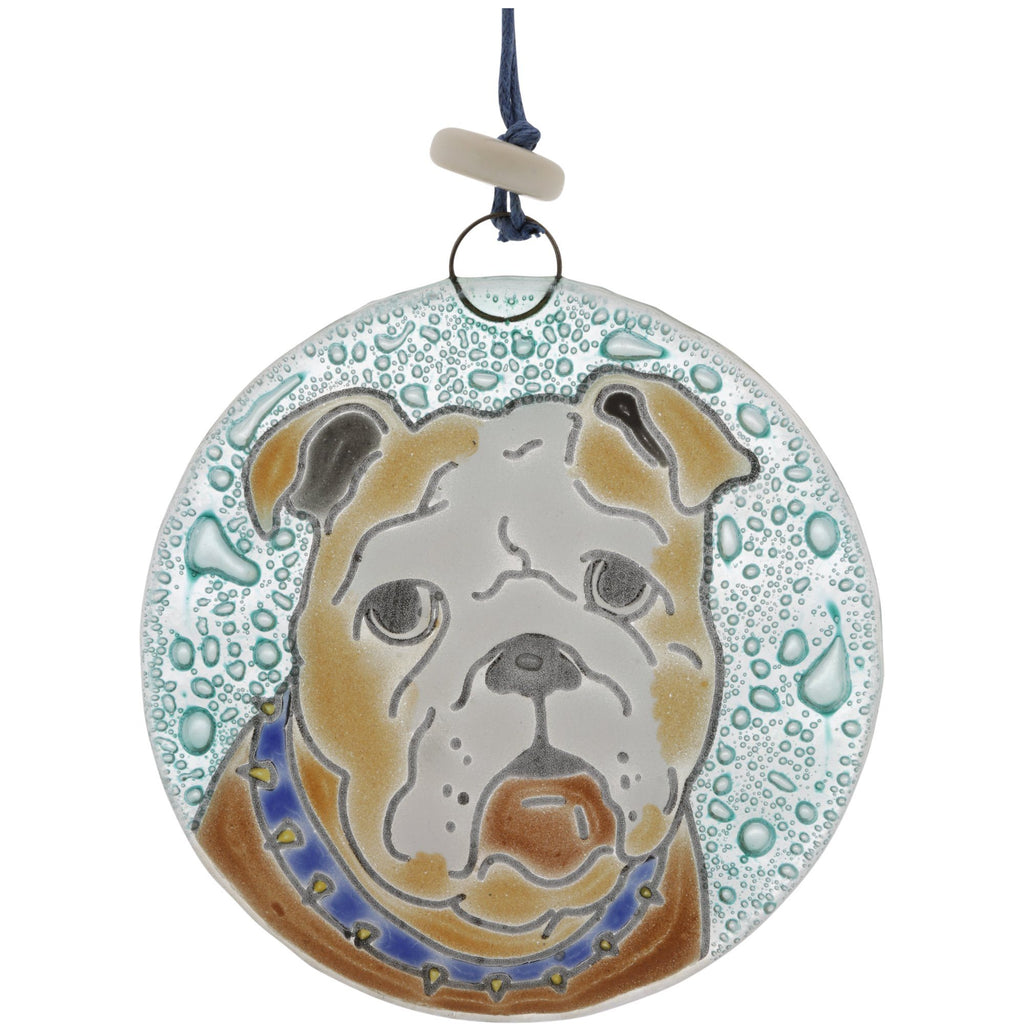 Bulldog Recycled Glass Ornament