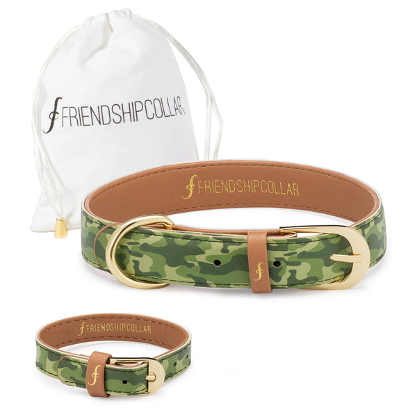 Camo Dog Friendship Collar & Bracelet Set