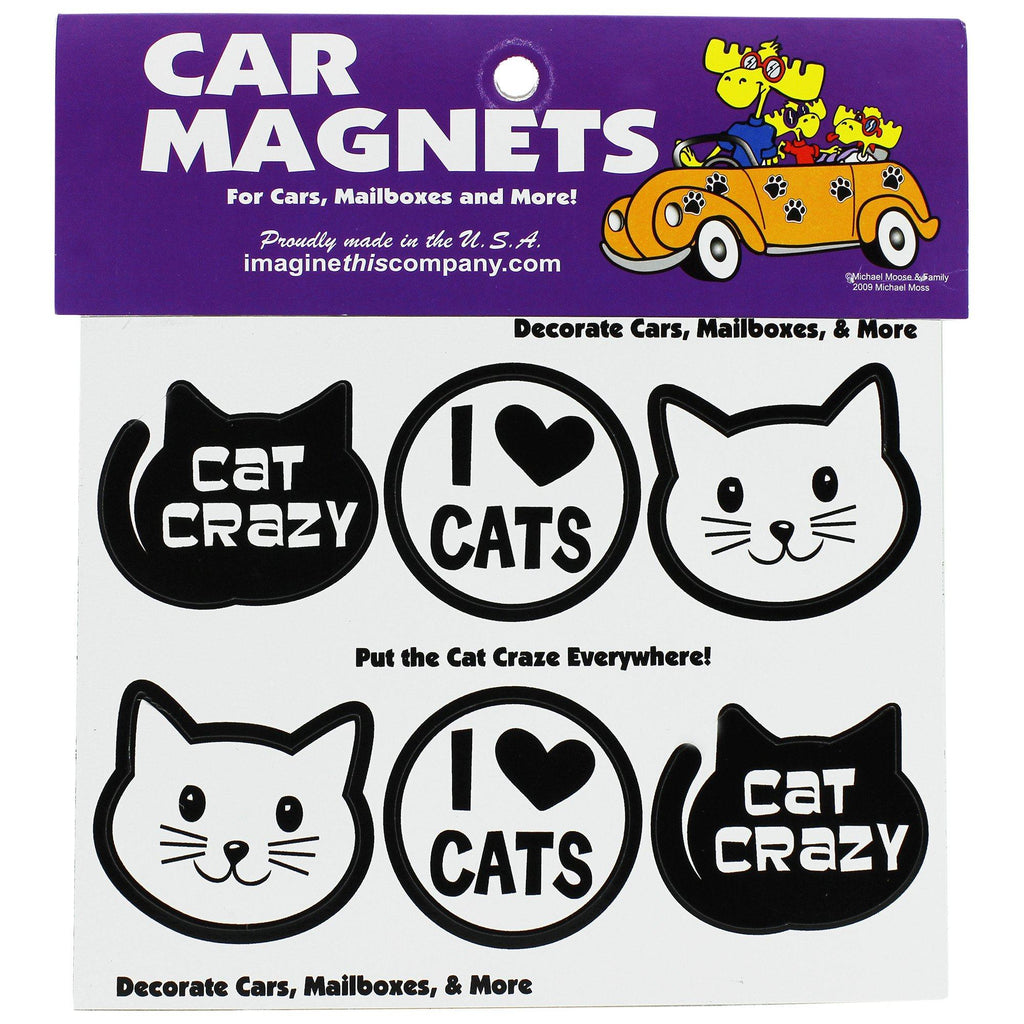 Cat Crazy Mini Car Magnets - Set Of 6