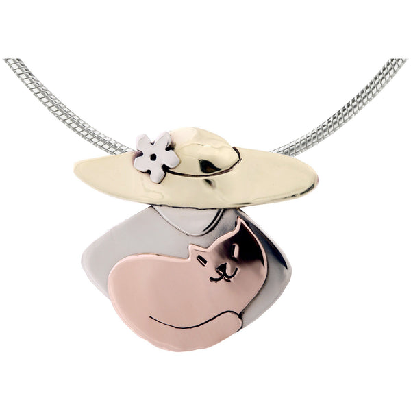 Cat Lover Mixed Metals Necklace