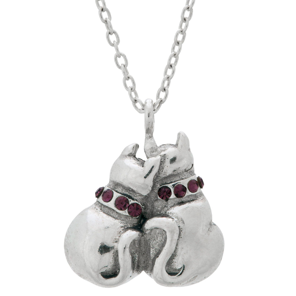 Cats In Love Sterling Necklace