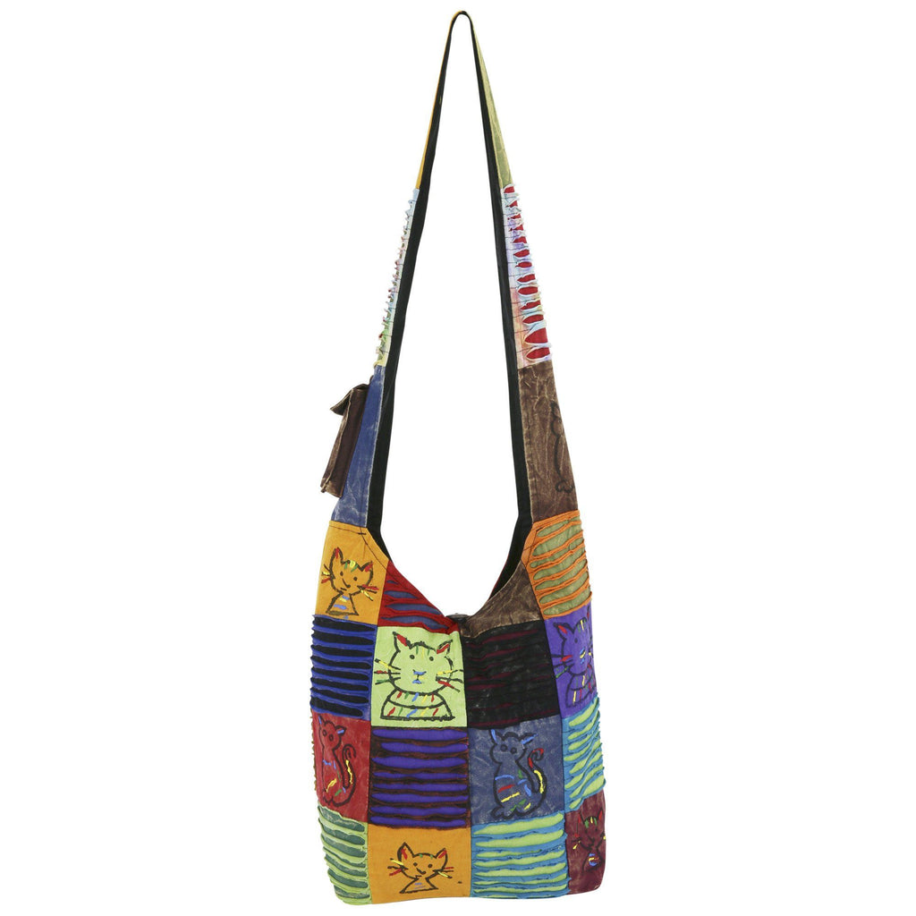 Cattitude Patchwork Hobo Bag
