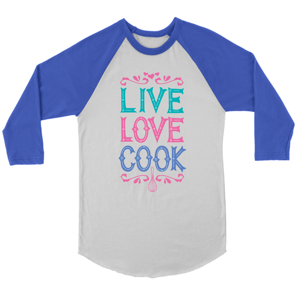 T-shirt - Live Love Cook Baseball Tee