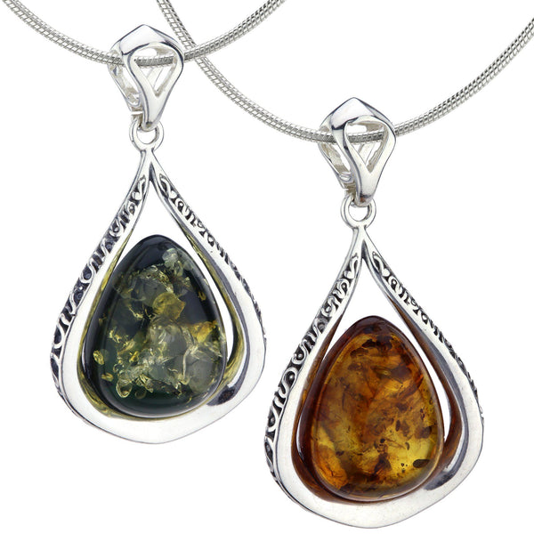 Cherished Droplet Amber & Sterling Necklace