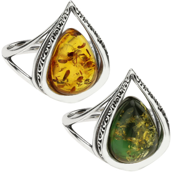 Cherished Droplet Amber & Sterling Ring