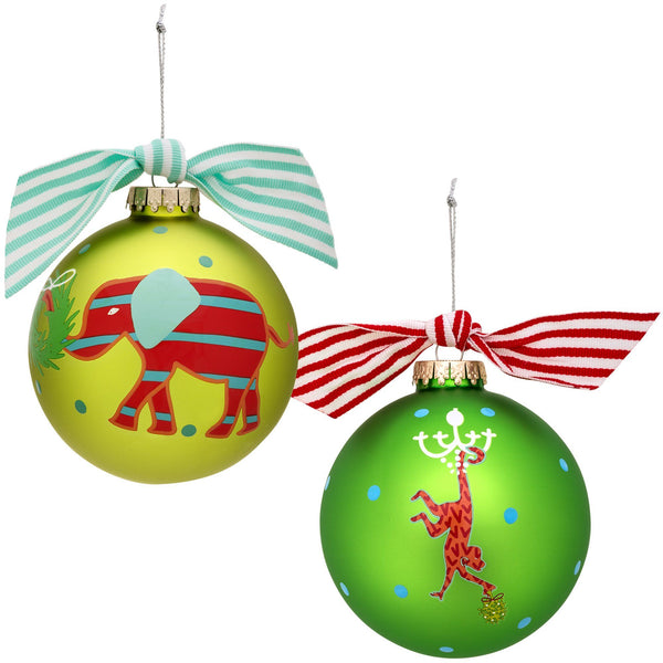 Christmas Critter Glass Ornament