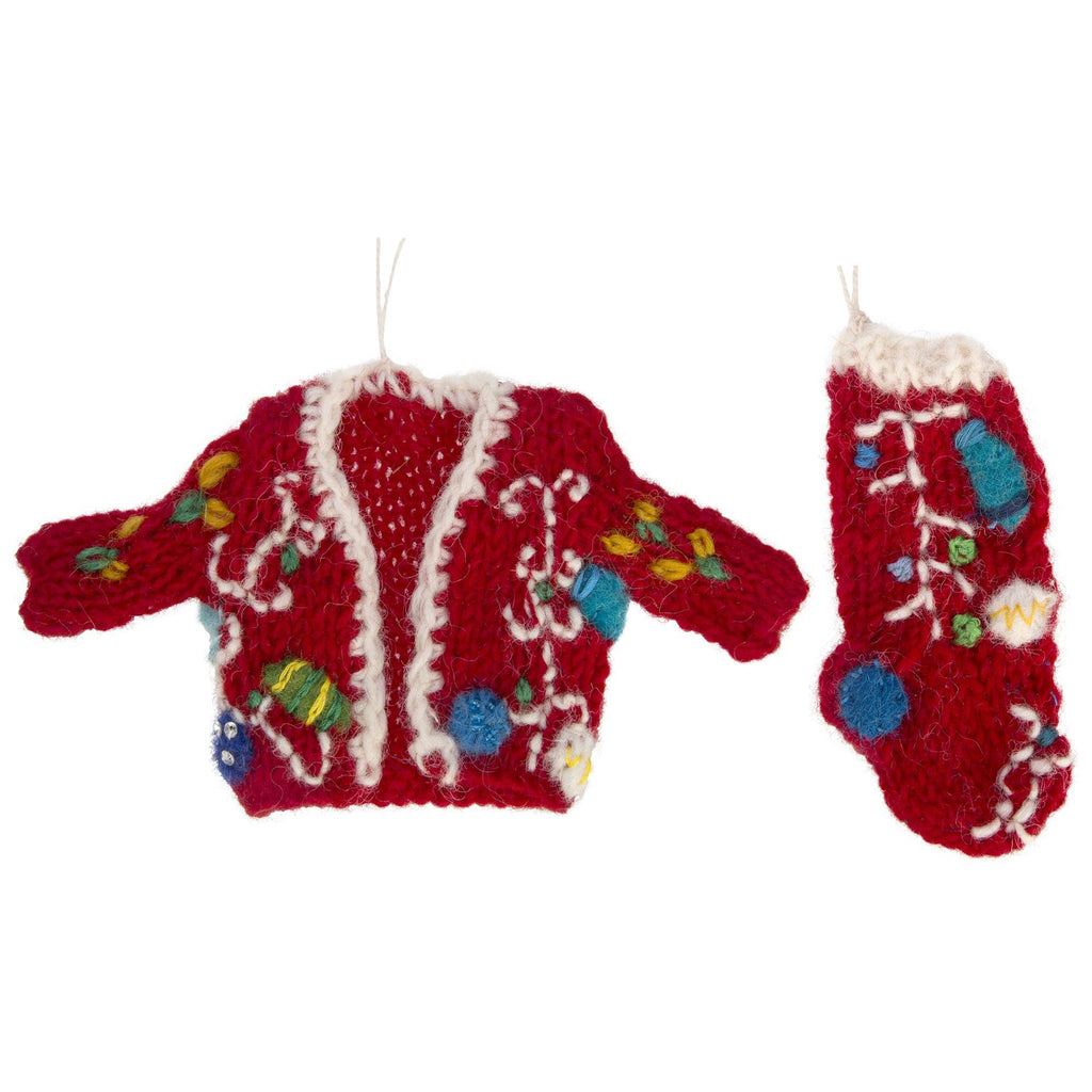 Christmas Lights Ugly Sweater & Stocking Ornament Set
