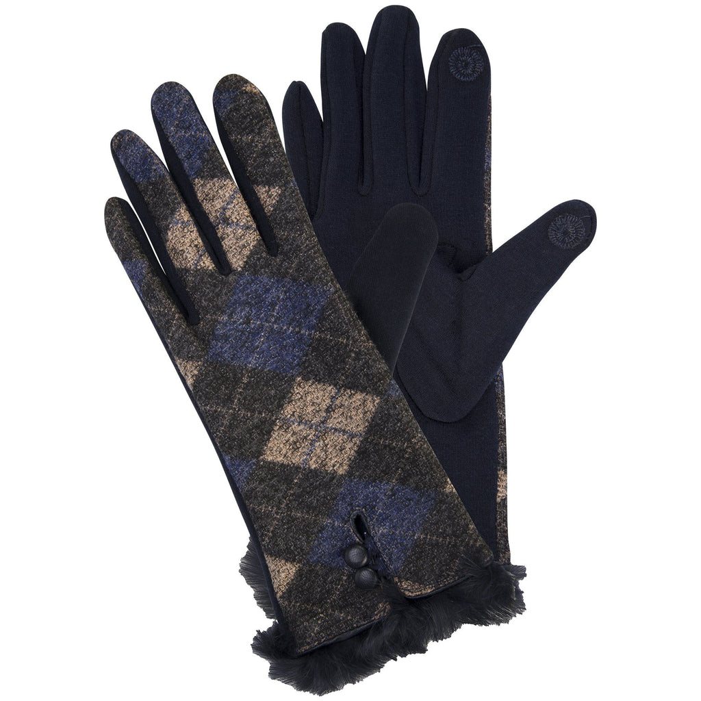 Classy Argyle Touch Gloves