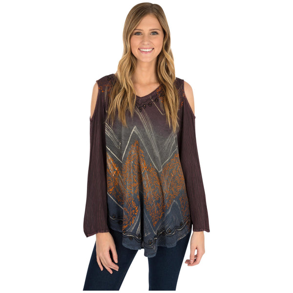 Clearing Sky Long Sleeve Peek-a-Boo Tunic