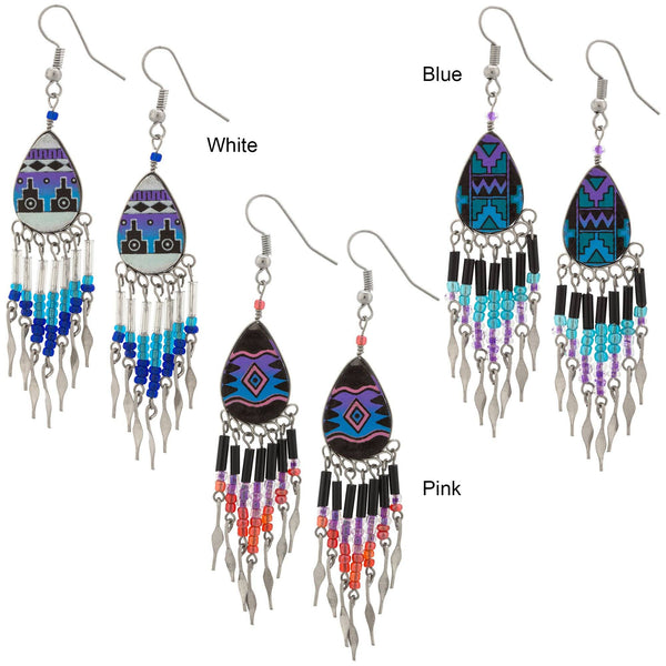 Colorful Ceramic Teardrop Chandelier Earrings