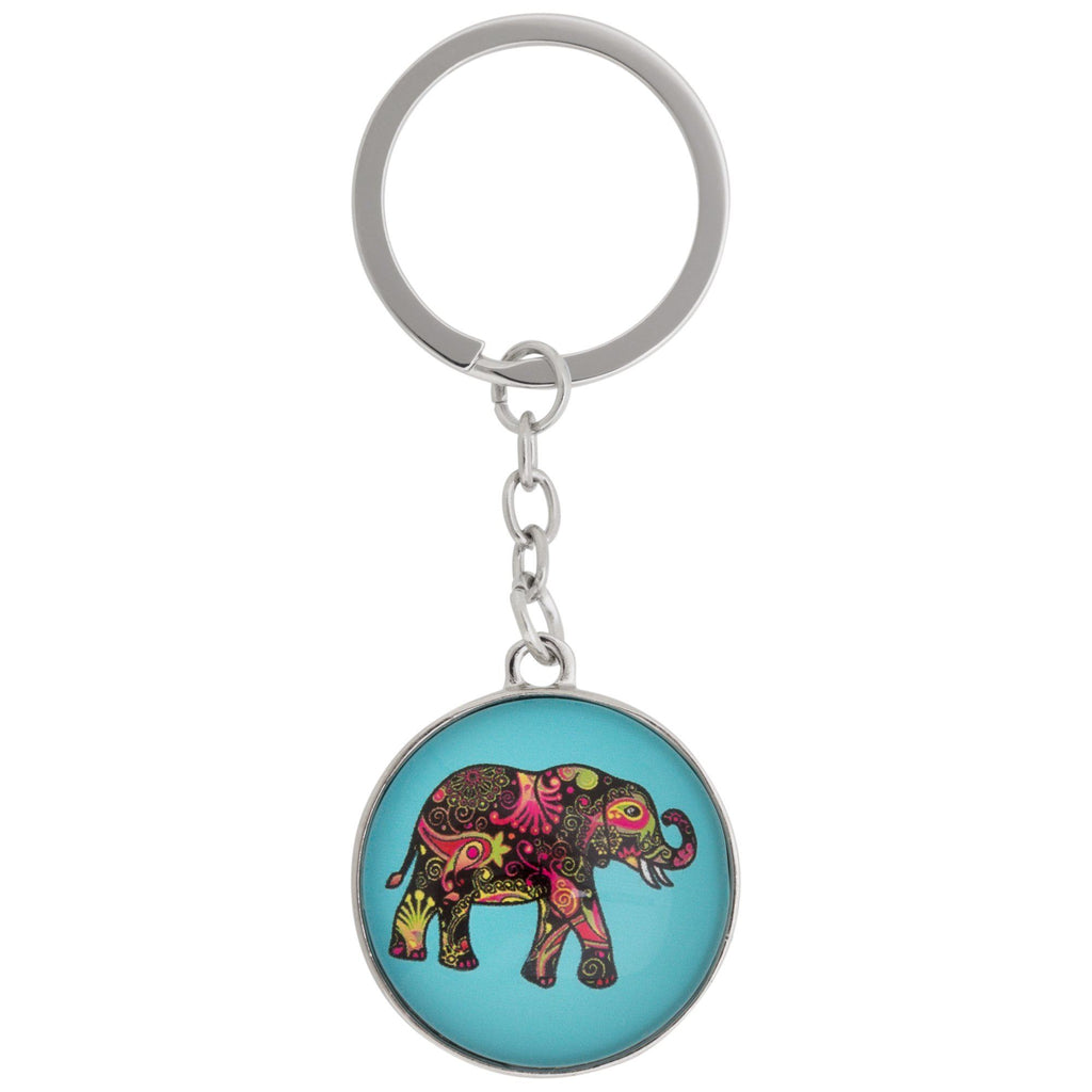 Colorful Elephant Round Keychain