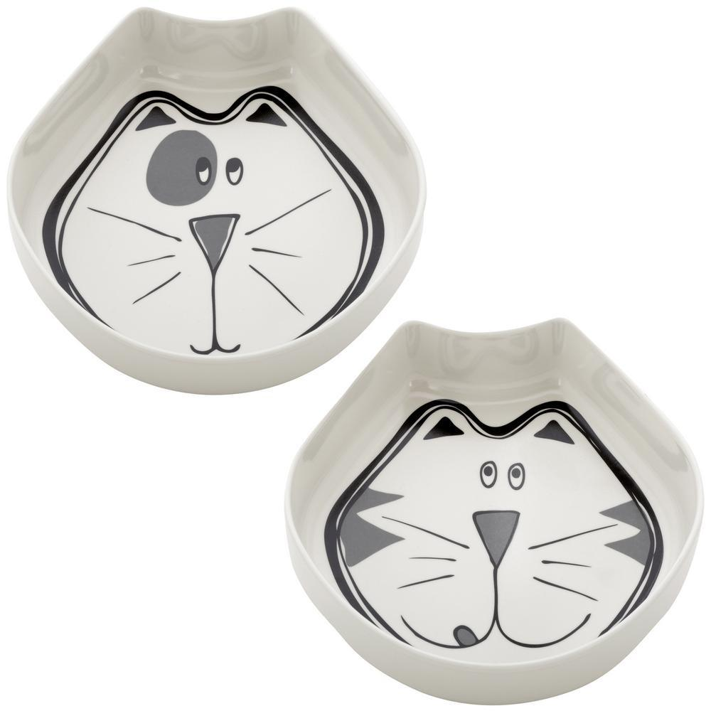 Comic Kitty Feeding Bowls - Set Of 2