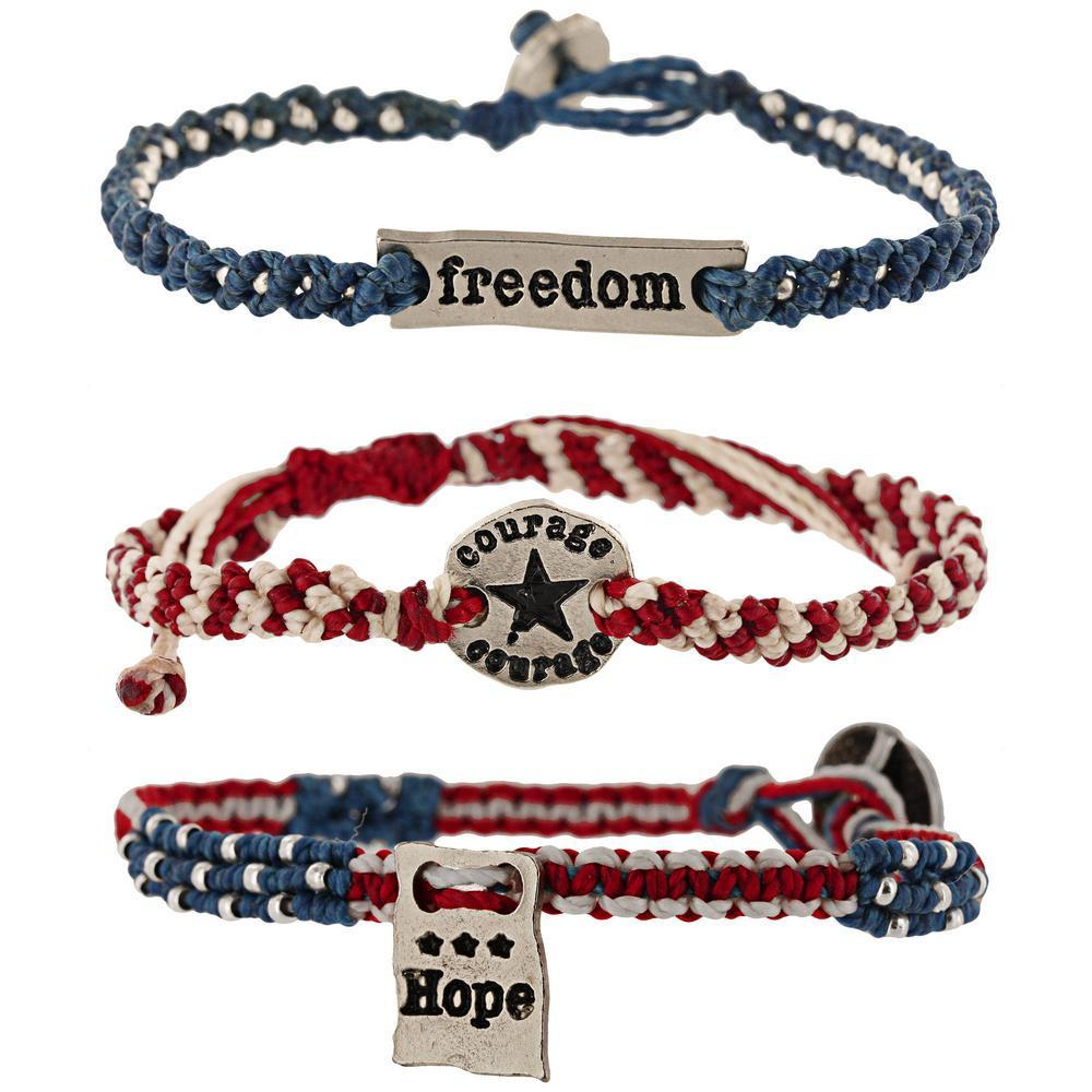 Courage, Hope, & Freedom Woven Bracelets Set