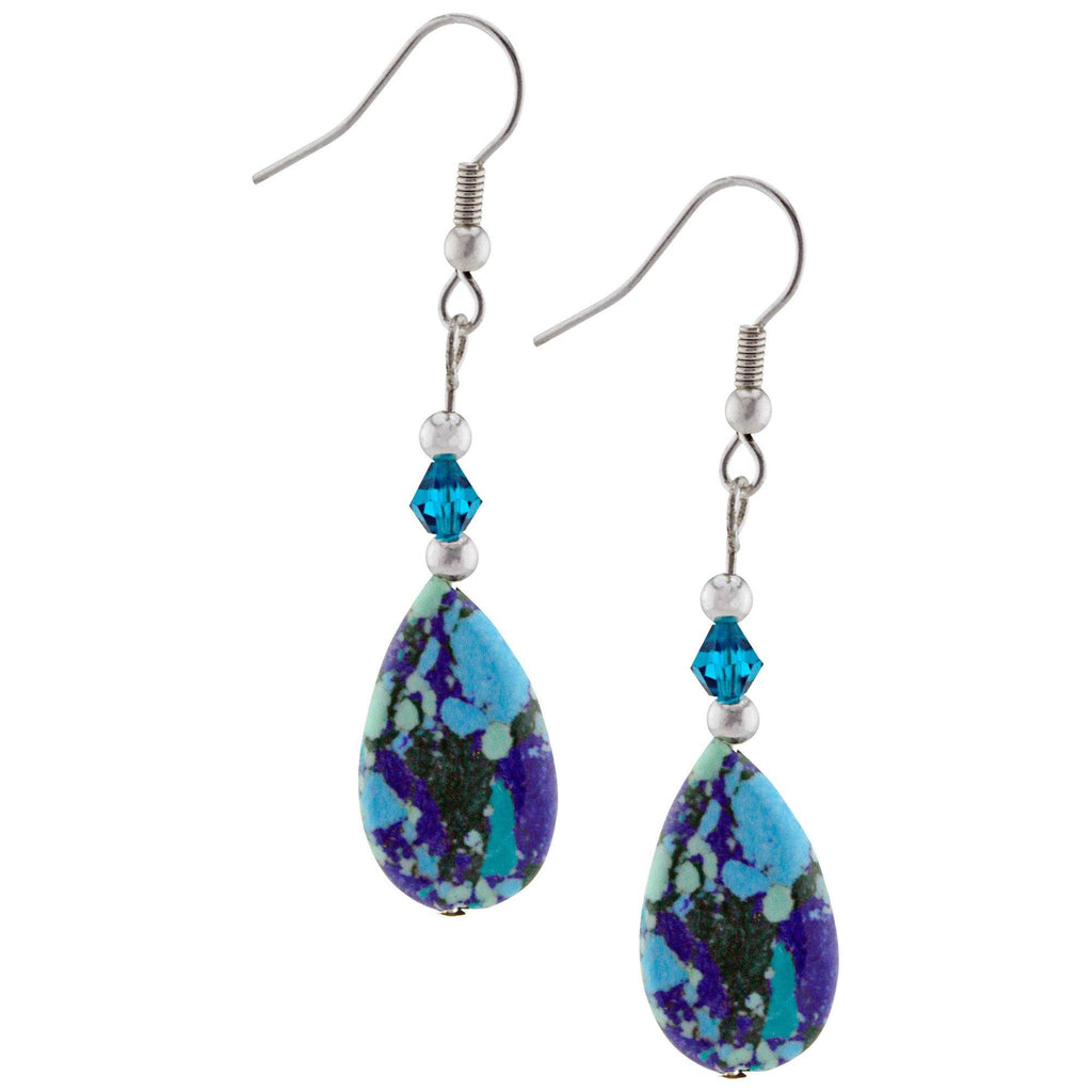Crazy Blue Lapis & Turquoise Teardrop Earrings