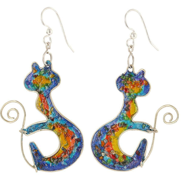 Curled Rainbow Kitty Gemstone Array Earrings