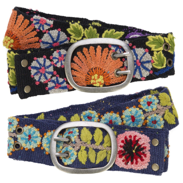 Cusco Flowers Embroidered Belt