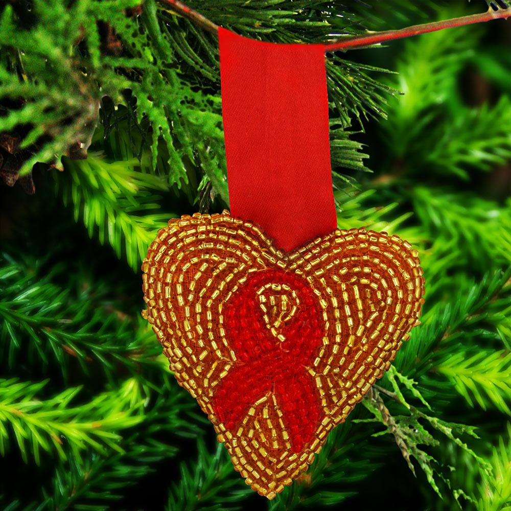 Custom Red Ribbon & Gold Heart Ornament