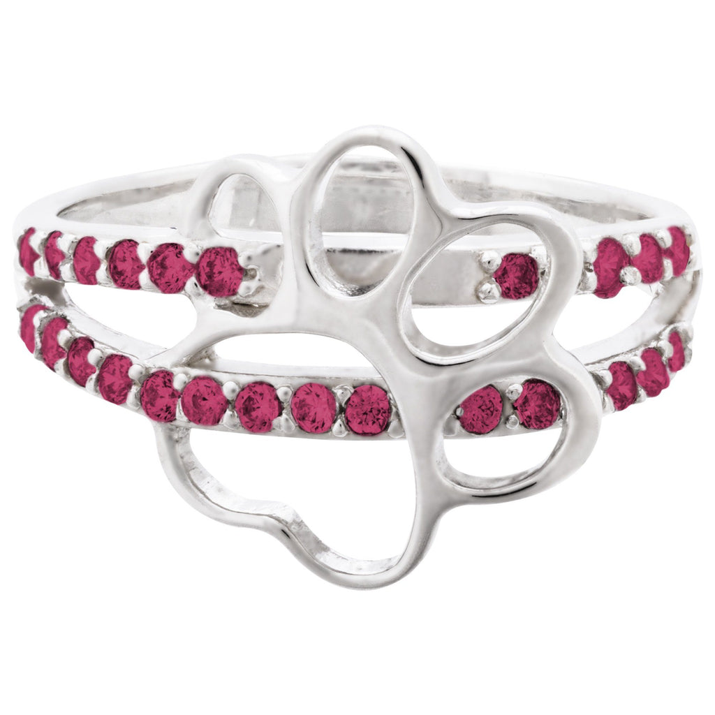 Cut Out Paw Print Birthstone & Sterling Ring