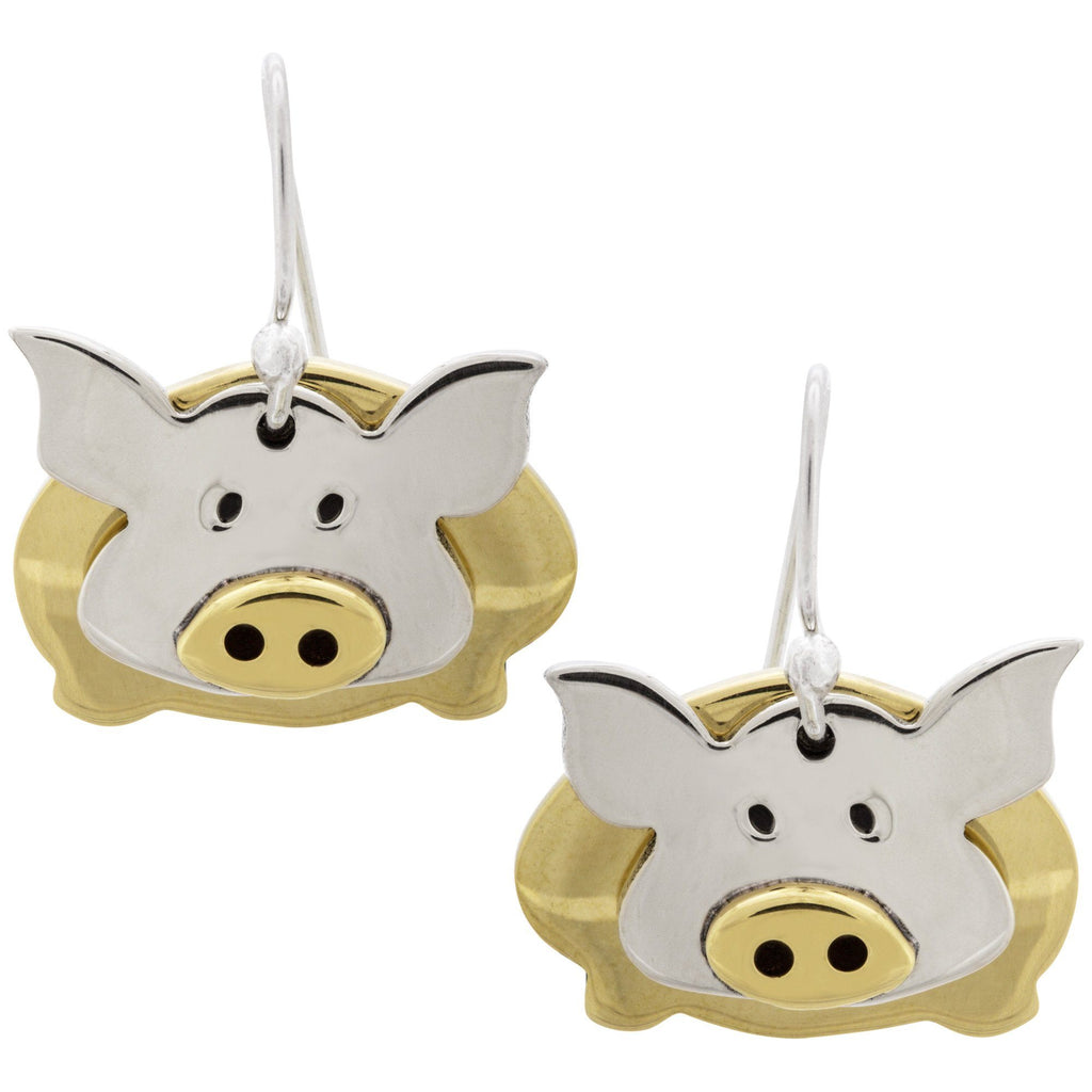 Dancing Pig Mixed Metal Earrings