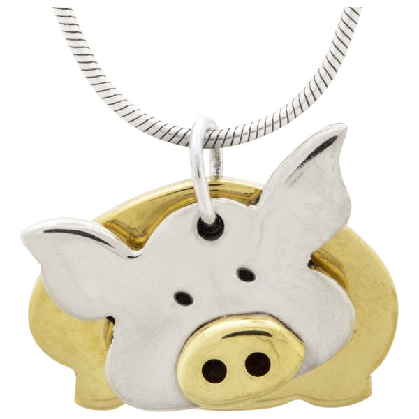 Dancing Pig Mixed Metals Necklace