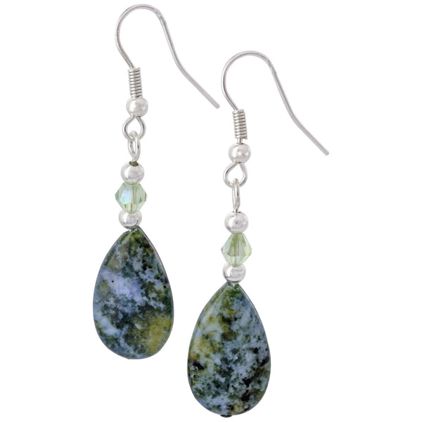 Denim Jasper Teardrop Earrings