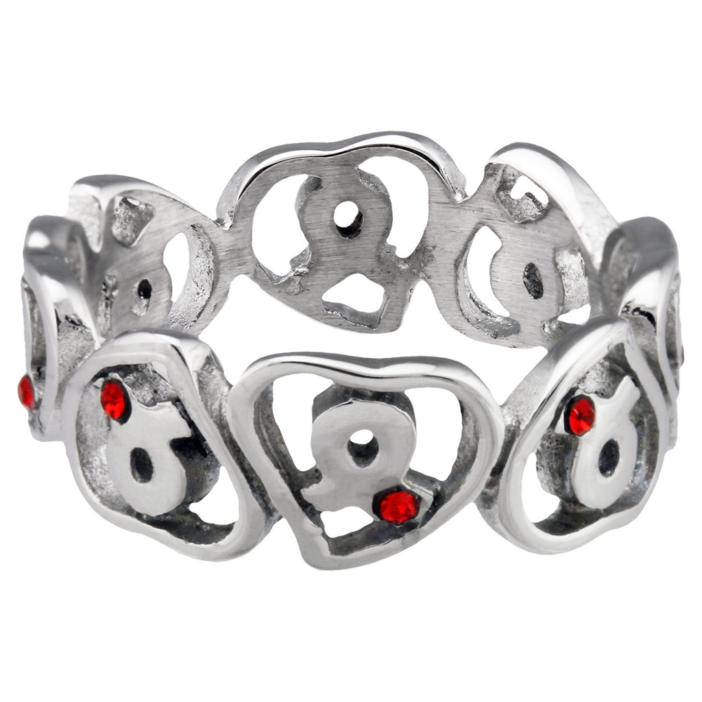 Diabetes Awareness Hearts Stainless Steel Ring