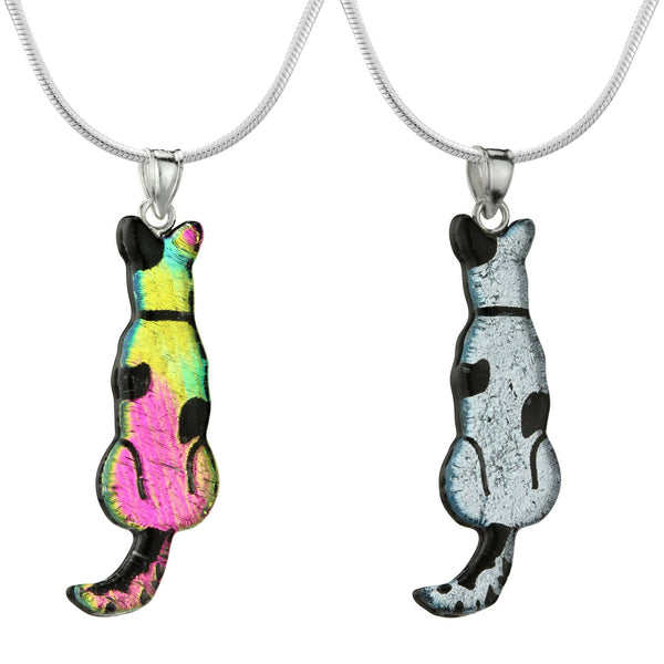 Dichroic Glass Dog Silhouette Necklace