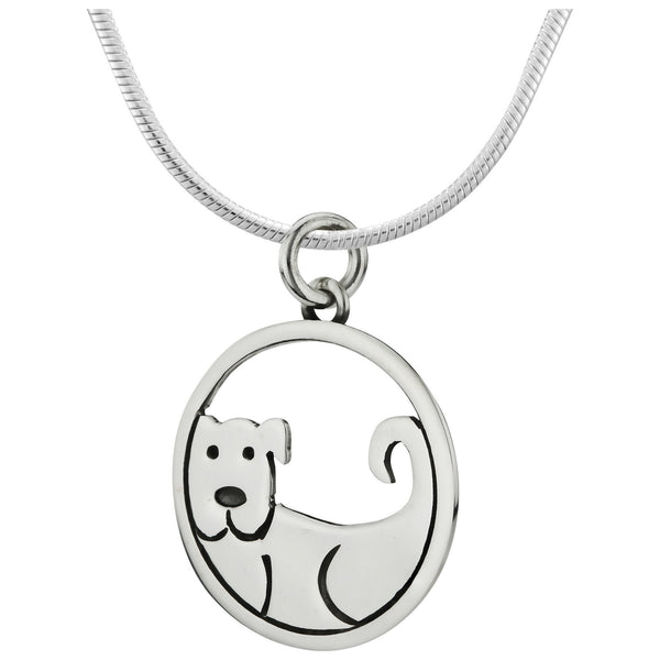 Dog Encircled Sterling Necklace
