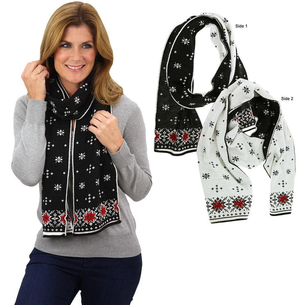Double-Sided Alpaca Snowflakes Scarf