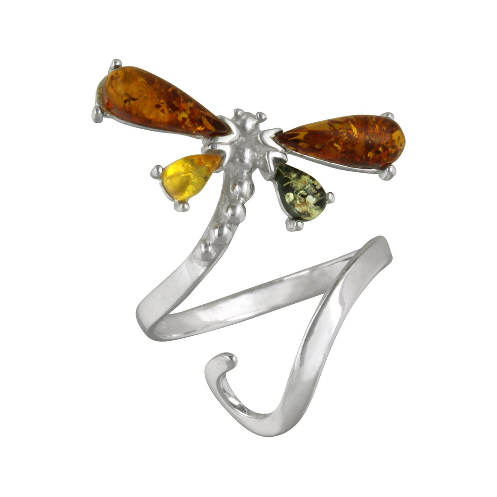 Dragonfly Amber & Sterling Adjustable Ring