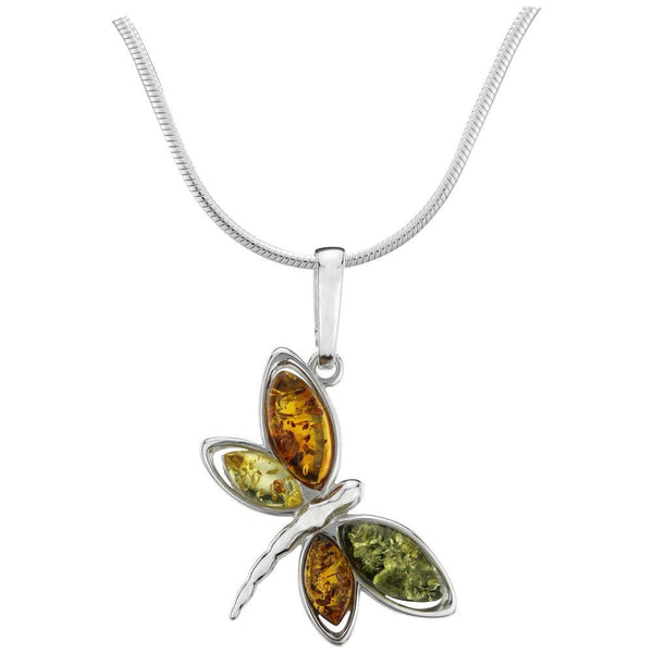 Dragonfly Amber & Sterling Necklace