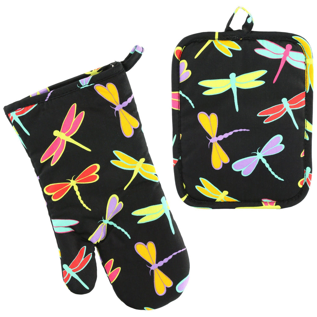 Dragonfly Delight Oven Mitt & Pot Holder Set