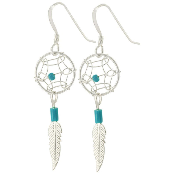 Dream Catcher Turquoise & Sterling Earrings