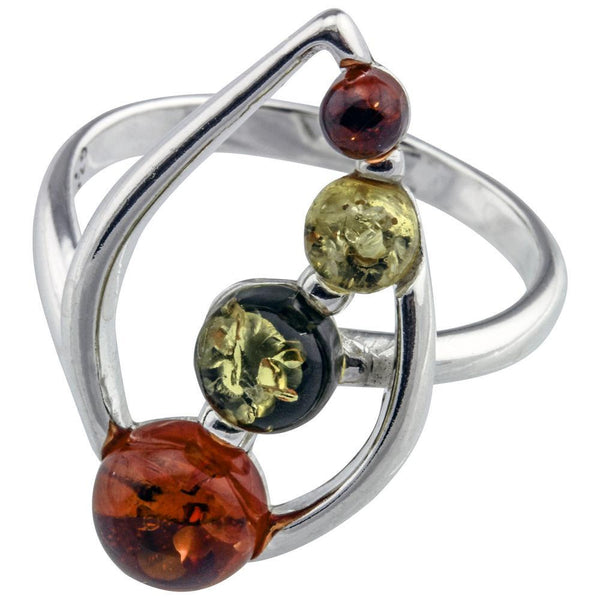 Drops Of Amber Sterling Ring