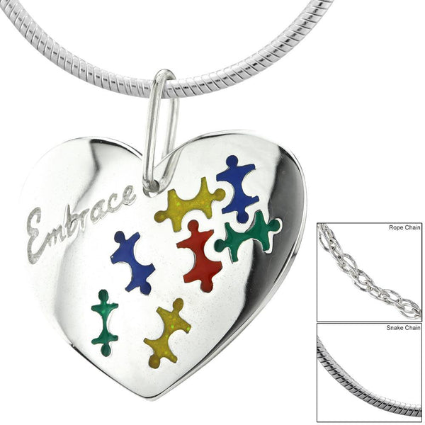 Embrace Autism Sterling Heart Necklace