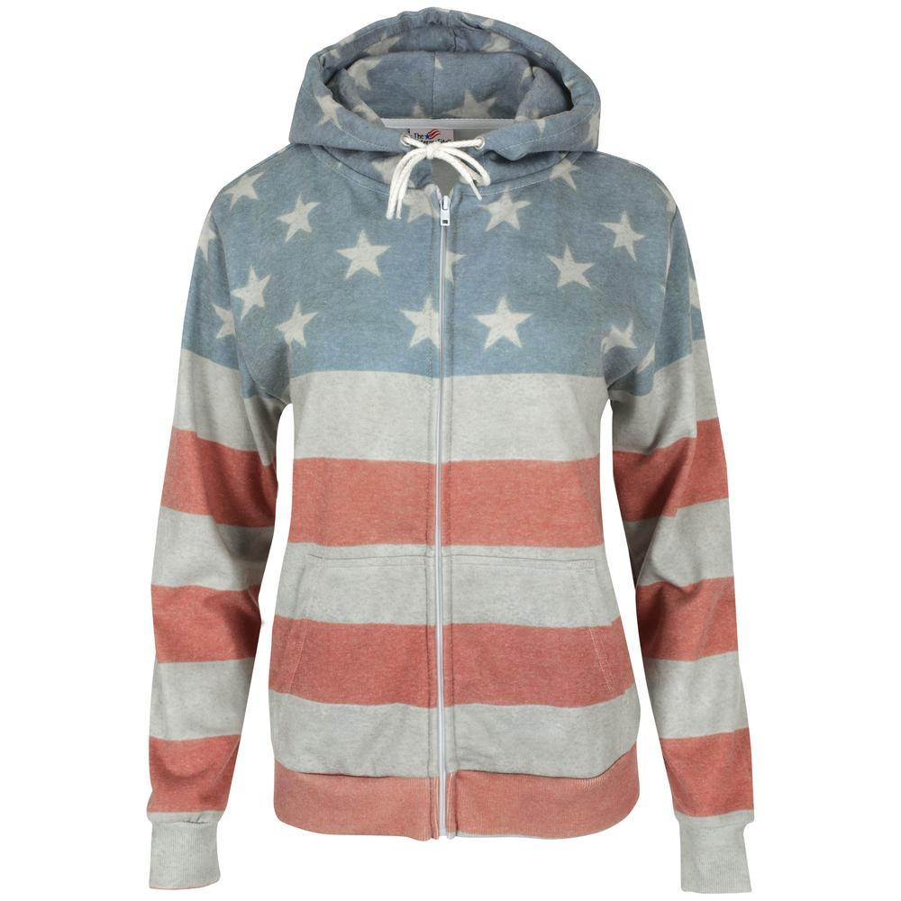 Faded Flag Hooded Zip Sweatshirt