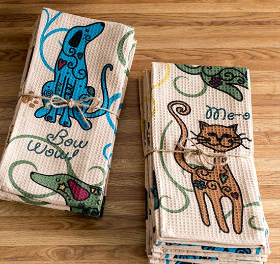 Festival Cats & Dogs Kitchen Towels