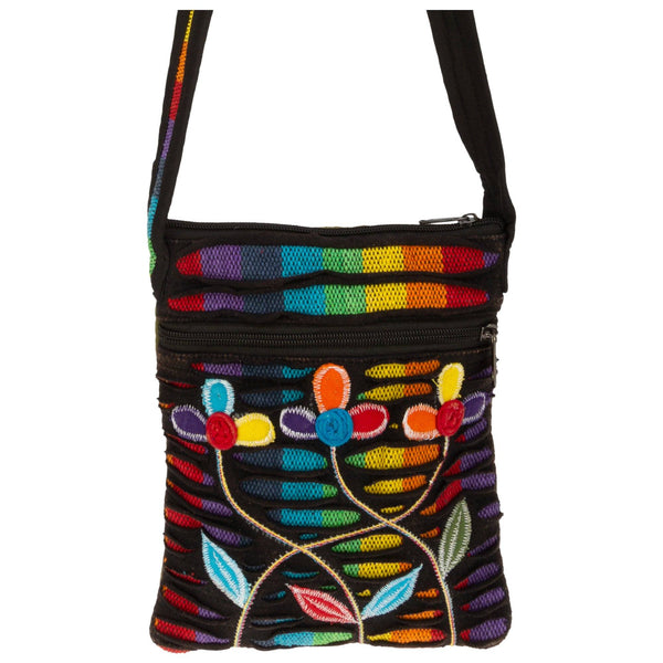 Field Of Rainbow Flowers Crossbody Bag